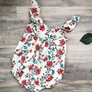 Red Floral Ruffled Bubble Onesie Romper